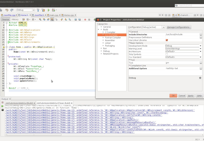 Linking problem with netbeans, ubuntu 12 04 - Wt - Redmine