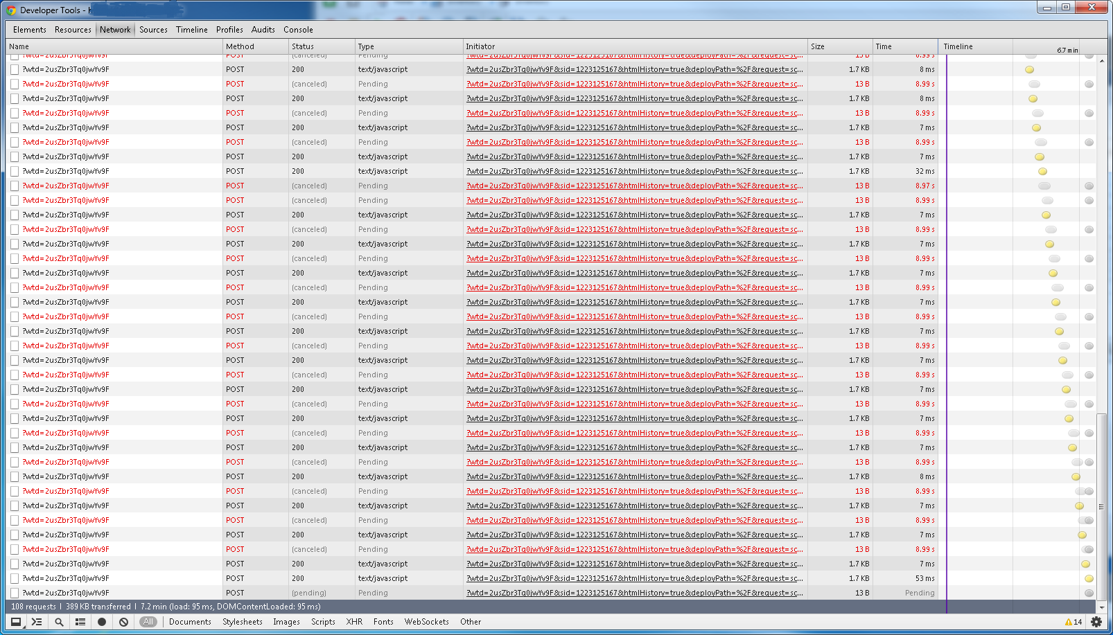 Many canceled requests showing in browser developer tools window